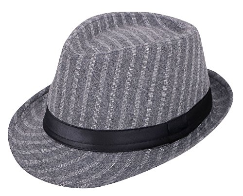 Wool Trilby Hat - Simplicity Unisex Structured Gangster Trilby Wool Fedora Hat Grey Four Strips