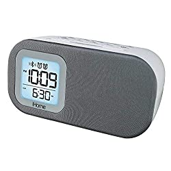iHome Compact Bluetooth Dual Alarm Clock Radio with Large Display Speakerphone & Lightning Dock (White)