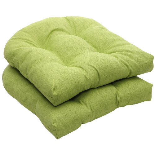 Pillow Perfect Indoor/Outdoor Green Textured Solid Wicker Seat Cushions, 2-Pack (Pillow Outdoor Solid)