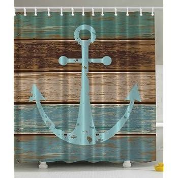 Amazon.com: Ambesonne Nautical Anchor Rustic Wood Long Fabric Shower ...