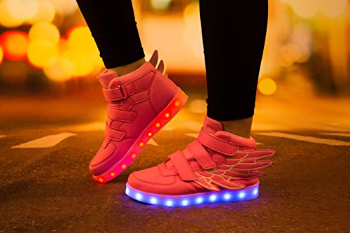 SAGUARO Kinderschuhe mit Leuchtende Sohle 7 Farben LED Schuhe USB Aufladen Leuchtschuhe Mädchen Jungen Blinkschuhe Licht Sportschuhe Turnschuhe Sneaker Rosa