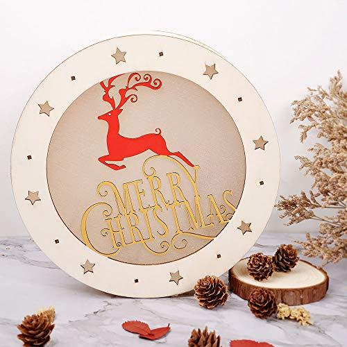 eZAKKA Christmas Reindeer Nightlight Desk Kids Bedroom Decoration Lamp Colorful Santa Wooden Decor by eZAKKA (Image #6)