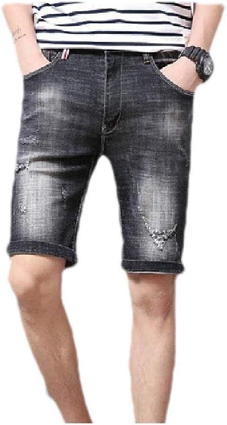 YAXINHE Men's Mid Waist Stretch Pockets Destroyed Thin Comfy Denim Short Trousers