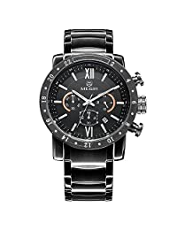 Megir Men's Sport Stainless Steel Luminous Chronograph Calendar Quartz Wrist Watches