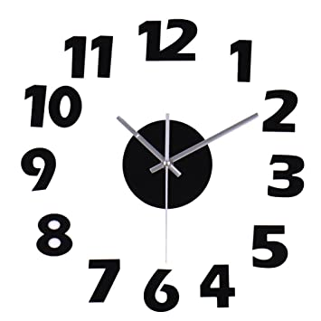 reloj pared moderno adhesivo reloj cocina salon pared silencioso nmeros arbigos de acrlico color negro