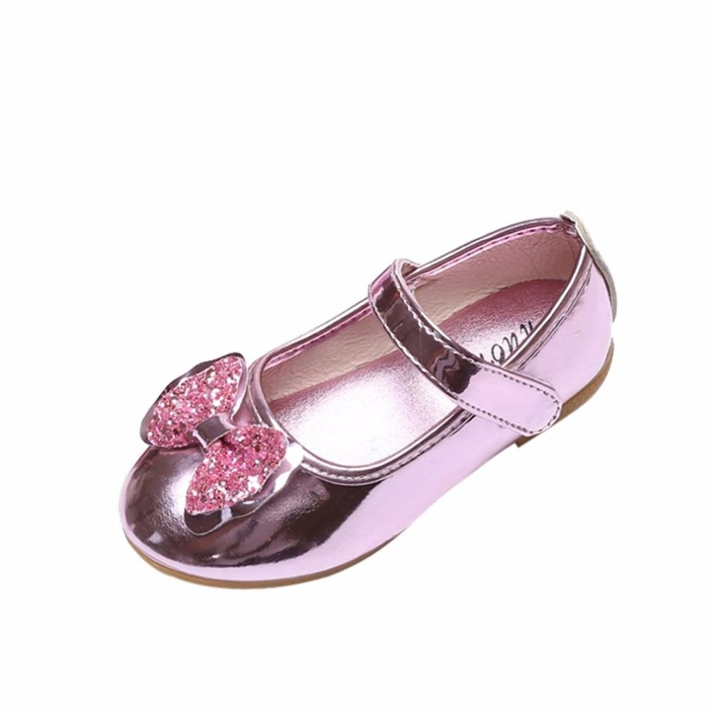 Digood Toddler Baby Girls Boys Bling Soft Sole Bowknot For Dance Perform Mary Jane Flat Shoes