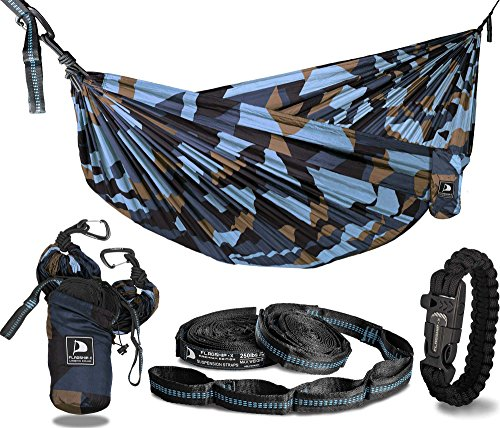 Blue Camo Camouflage (Flagship-X Urban Camo Double 2 Person Camping Hammock Packable for Backpacking - Gold Blue Camouflage)