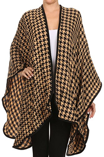Houndstooth Wrap - ReneeC. Women's Print Open Front Winter Fashion Cardigan Sweater Poncho (One Size, Houndstooth Mustard)