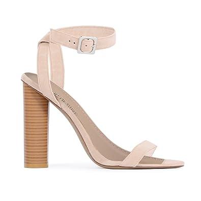 6bd93437279 Amazon.com   Public Desire Womens Carmela Barely There Wood Heels ...