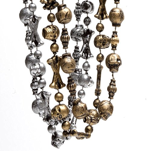 Silver and Gold Pirate Skull Beaded Necklaces (12)]()