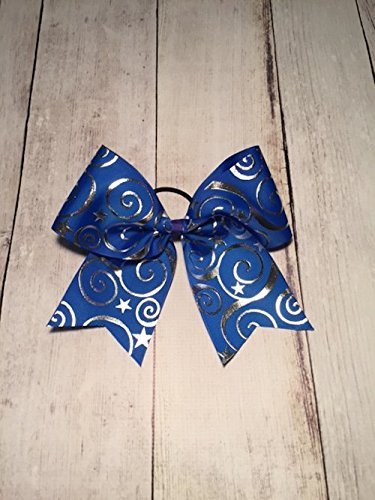 Blue Cheer Bow, Blue and Silver Cheer Bow, Swirls Cheer Bow, Hair Bow - Image 1