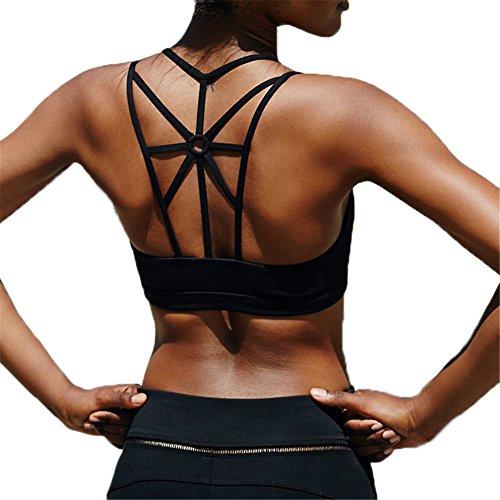 Spalline Donna Yoga Mescara per Stretch Sport Top Vest Reggiseno Sportivo Nero Pilates Fitness Incrocio Trekking Imbottito Palestra YYUEq