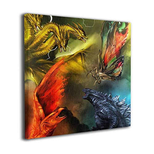 Little Monster Godzilla 2 King of The Monsters 2019 Stretched Pictures On Canvas Wall Decor Occident Style Art for Child Bedroom 16x16in -
