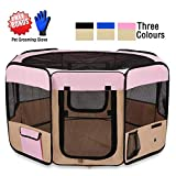 """ZuHucpts 48"""" Large Indoor/Outdoor Dog Pet Playpen, Portable Foldable Puppy Cat Excise Pen Kennel Tent, Soft Folding Crate Cage House Enclosure (48""""x48""""x24""""H, Pink)"""