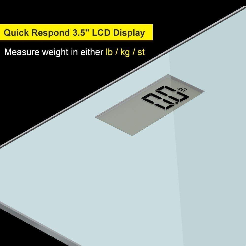 ACCUWEIGHT Báscula de Baño Digital de Alta Medición Precisa 180 kg Balanza Digital Baño con Plataforma de Vidrio Seguridad, Plata: Amazon.es: Salud y cuidado personal
