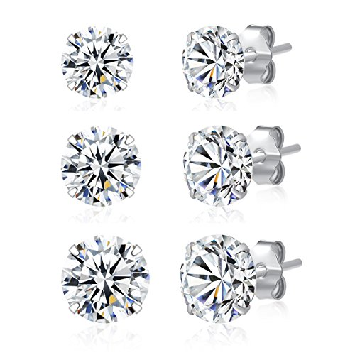3 Pairs 925 Sterling Silver Cubic Zirconia Stud Earrings 4mm-5mm-6mm Set Men Women