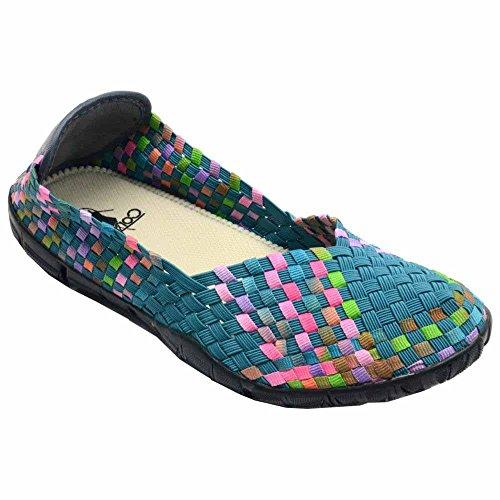 Corkys Womens Sidewalk Slip on Flat Shoe,Turquoise Multi,7