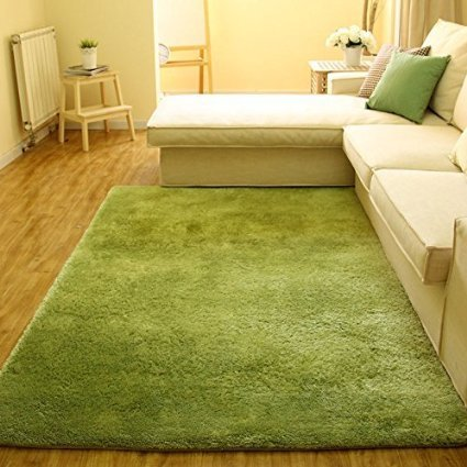 Super Soft Modern Shag Area Anti-Slip Rugs Living Room Carpet Bedroom Rug for Children Play Solid Home Decorator Floor Rug and Carpets 4- Feet By 5- Feet (Green)