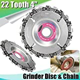4 Inch Diameter 22 Tooth Cut Chain Carver for Side Grinder with 5/8-Inch Arbor