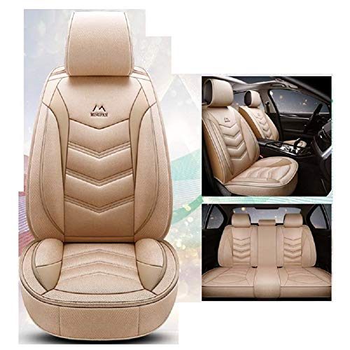 OUTOS Luxury Cotton and Linen Blended Weave Auto Car Seat Covers 5 Seats Full Set Universal Fit -