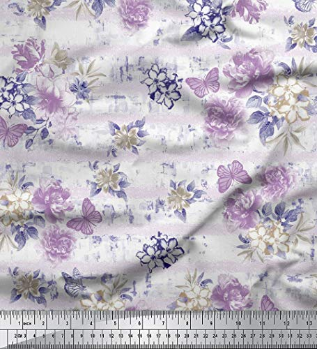 Soimoi White Floral & Butterfly Printed Cotton Poplin Fabric 58 Inches Wide by The Yard