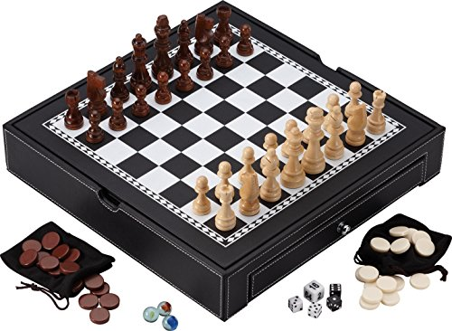 Mainstreet Classics Broadway 5-in-1 Combo Board Game - Chess Classic Marble Set