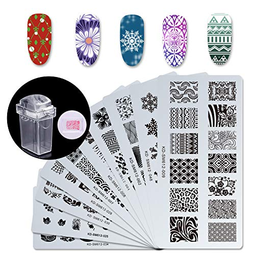 rt Stamp Stamping Templates Kit with 10pcs Plastic Manicure Plates 1 Stamper 1 Scraper for DIY & Salon Nail Art, S-01 ()