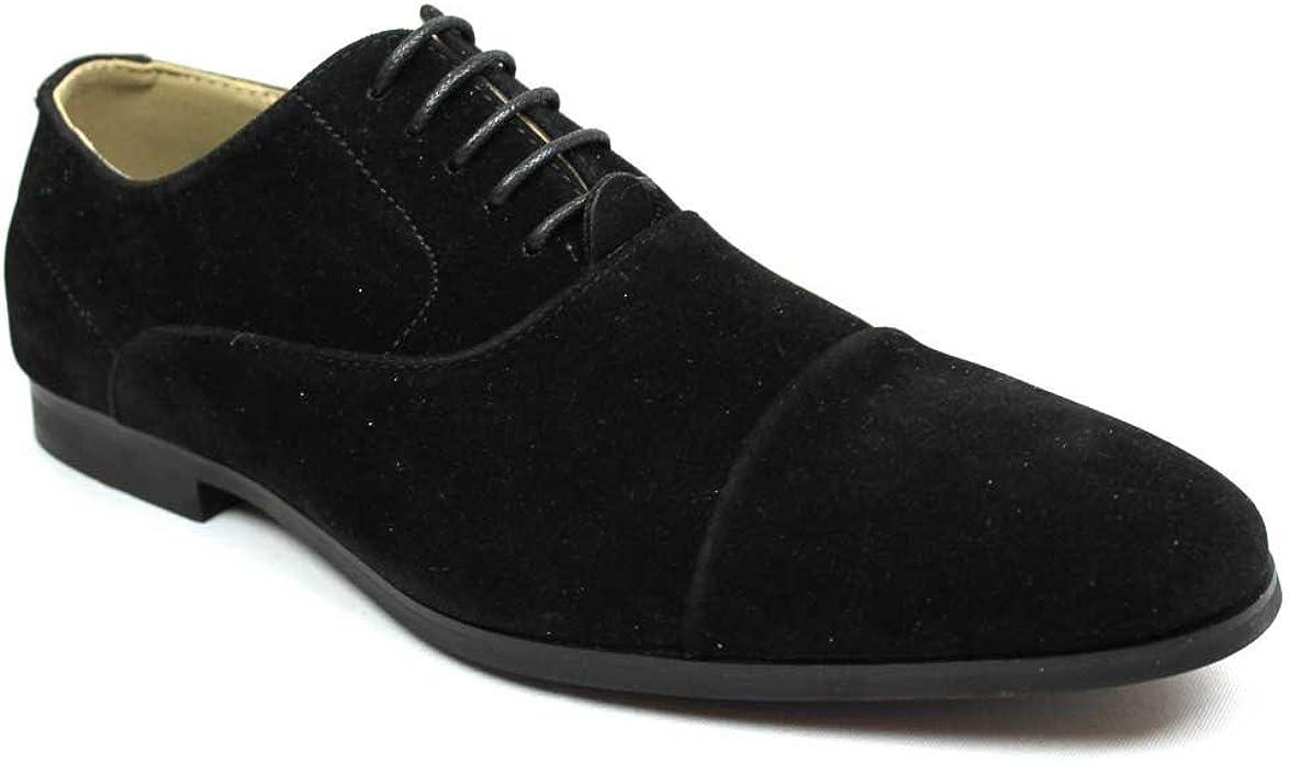 Cap Toe Black Suede Dress Shoes Lace up