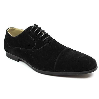 446a21161a47ae Men's Cap Toe Black Suede Dress Shoes Lace up Oxfords by Azar (7 U.S (