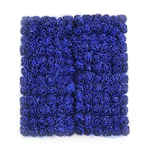 Roses Fake Flowers Heads Artificial Rose Flowers DIY 144 PCS Head Rose Flowers Wedding Bride Bouquet PE Foam DIY Party Festival Home Decor Rose Flowers (Royal Blue) 55