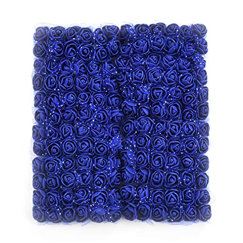 Roses Fake Flowers Heads Artificial Rose Flowers DIY 144 PCS Head Rose Flowers Wedding Bride Bouquet PE Foam DIY Party Festival Home Decor Rose Flowers (Royal Blue)