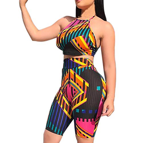Women Colourful Camisole Chest Wound Printing Tops Short Pants Two Piece Set Fashion Show -