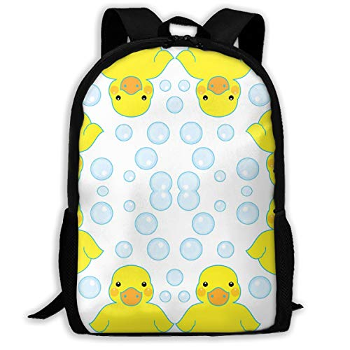 Mens Women & Teens Backpacks Funny bookbags Work daypacks Rubber Ducks and Bubbles Backpack Suitable for School,Camping,Travel,Outdoors