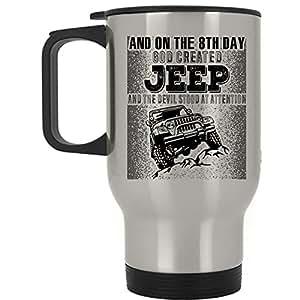 Funny Jeep Driver Travel Mug, On The 8th day God Created Jeep Mug (Travel Mug - Silver)