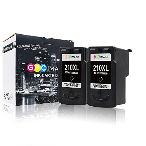 GPC Image 2 Black Remanufactured Ink Cartridge (InkLevel Chip) Replacement for Canon PG-210XL 210XL 210 XL High Yield (2 Black) for Canon PIXMA iP2702 MP495 MP240 MX410 MP280 MP480 MX360 MX420 Printer