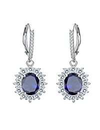 EVER FAITH Women's 925 Sterling Silver CZ Elegant Flower Prong Setting Leverback Dangle Earrings