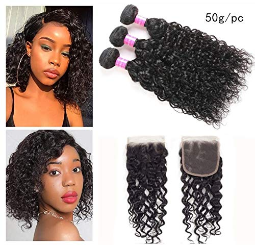Brazilian Water Wave Bundles with Closure 9A Ocean Wave Wet and Wavy Human Hair Bundles with Closure 100% Human Hair Weave Extensions Remy Hair Bundles Water Curly Hair (10 10 10+10, free) 100% Human Hair Weave