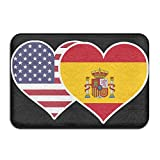 Youbah-01 Indoor/Outdoor Floor Mat With American Spain Flag Heart Pattern For Kitchen