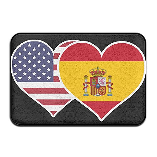 Youbah-01 Indoor/Outdoor Floor Mat With American Spain Flag Heart Pattern For Kitchen by Youbah-01