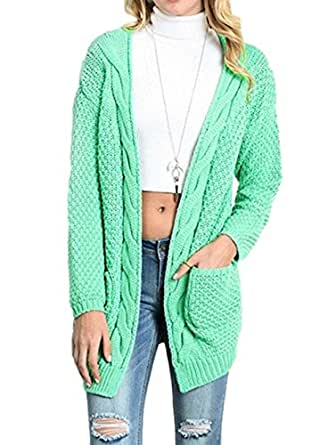 Womens Cable Knit Open Front Cardigan Sweaters w/ Pockets - Aegean Auras Ladies Fall Outerwear Oversized Jacket Coat