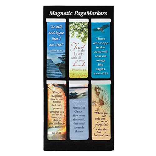 Beautiful Magnetic Bookmarks with Scripture and Words of Inspiration - Set of 6 - Bookmarks Christian