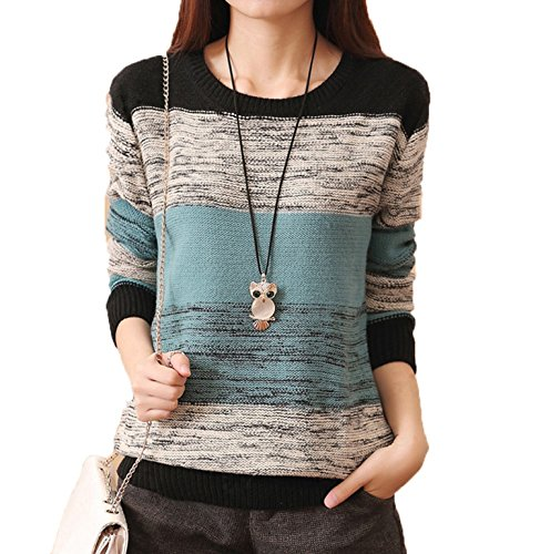 CRAVOG Damen Pullover Herbst Casual Long Sleeve Lose Strick Pullover Sweater Top Outwear (L, Blau)