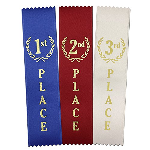First Place Award - 1st - 2nd -3rd Place Quality Award Ribbons 150 Count Value Bundle - 50 Each Blue, Red, White - Made in The USA