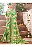 Indian Sarees For Women Designer Wedding Partywear Pink Color In Green Cotton Silk