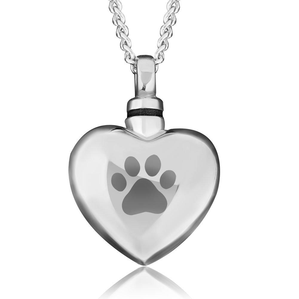 Q&Locket Pet Dog Paw Print Heart Urn Necklaces Memorial Ashes Holder