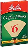 Melitta 626412#6 40 Count Natural Brown Cone Coffee Filters, Brown