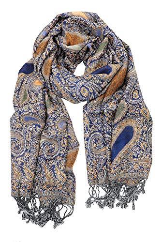 Royal Blue Paisley - Achillea Soft Silky Reversible Paisley Pashmina Shawl Wrap Scarf w/Fringes (Paisley Royal Blue)