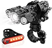 1200 Lumens Bike Lights Rechargeable LED Bike Headlight and Tailight Combinations, IPX6 Waterproof 4 Modes Bic