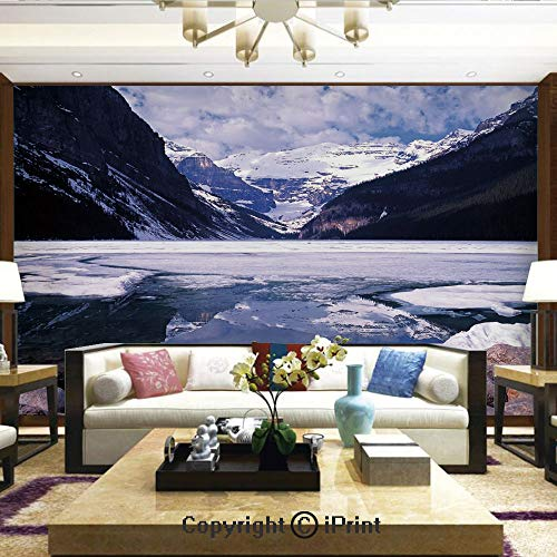 Lionpapa_mural Removable Wall Mural Ideal to Decorate Bedroom,or Office,Lake Louise Alberta Canada Tourist Attraction Landscape Mountains Travel Vacation,Home Decor - 66x96 inches -
