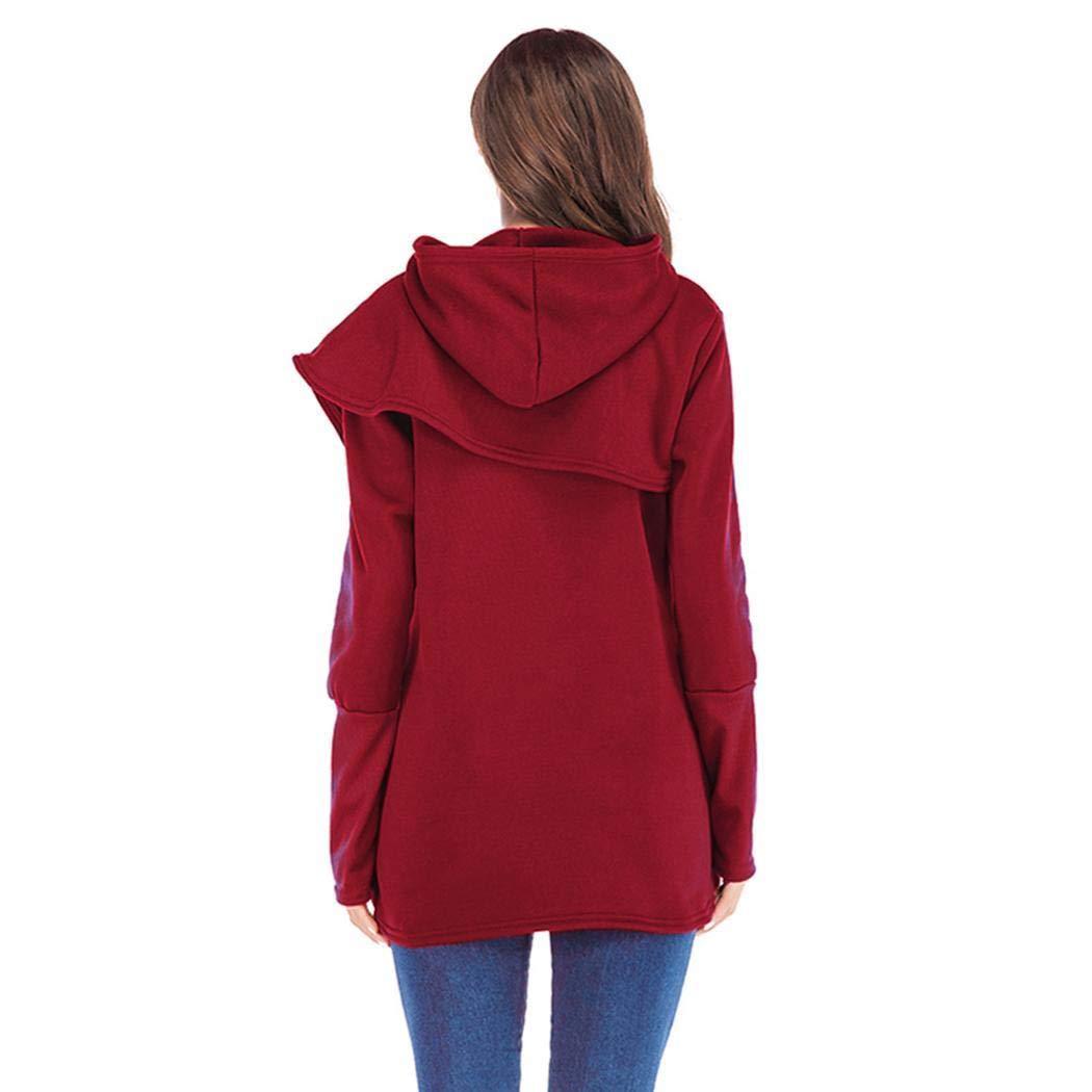 Wildtrest Women Winter Asymmetrical Design Hooded Sweatshirt Long Sleeve Hoodies Hoodies